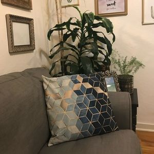 "Navy ombré geometric pillow 18x18"""